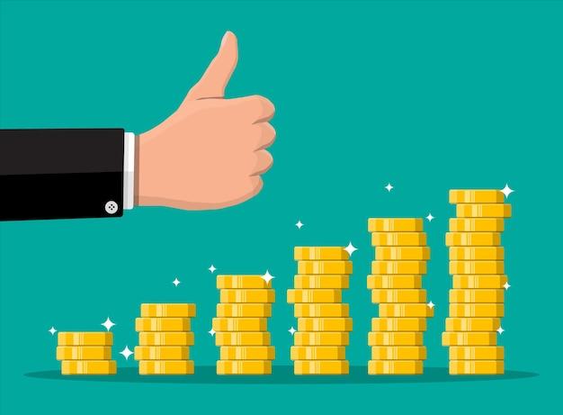 Pilha de moedas de ouro e mão com o polegar para cima gesto. moeda de ouro com cifrão. crescimento, renda, poupança, investimento. símbolo de riqueza. sucesso nos negócios. ilustração em vetor estilo simples.