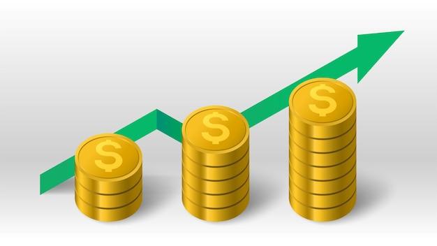 Pilha de moedas de ouro e seta de crescimento verde acima do fundo do vetor do diagrama de tendências
