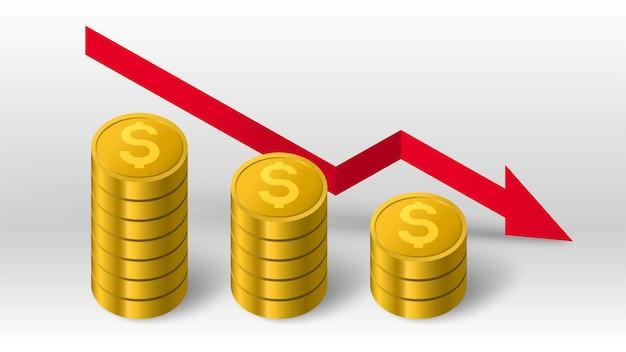 Pilha de moedas de ouro e seta vermelha decrescente para baixo do diagrama de tendência de fundo vetorial