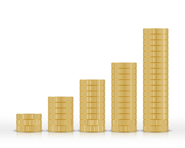 Pilha de moedas de ouro isolada