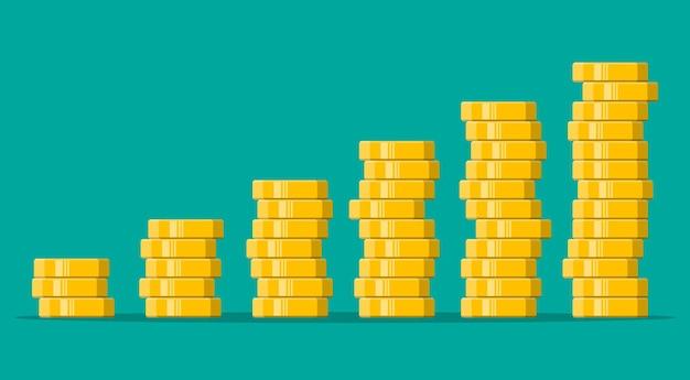 Pilha de moedas de ouro. moeda de ouro com cifrão. crescimento, renda, poupança, investimento. símbolo de riqueza. sucesso nos negócios. ilustração em vetor estilo simples.
