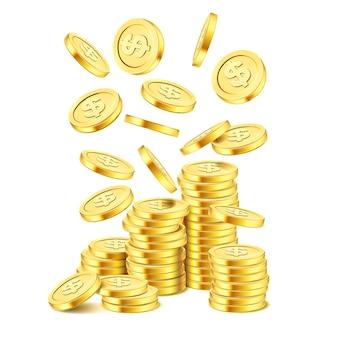 Pilha de moedas de ouro realistas sobre fundo branco. chuva de moedas de ouro. dinheiro caindo na pilha. bingo jackpot ou casino poker ou elemento de vitória. modelo de conceito de sucesso de tesouro de dinheiro. ilustração 3d