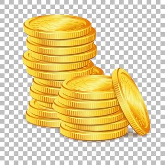 Pilha de moedas de ouro sobre fundo transparente