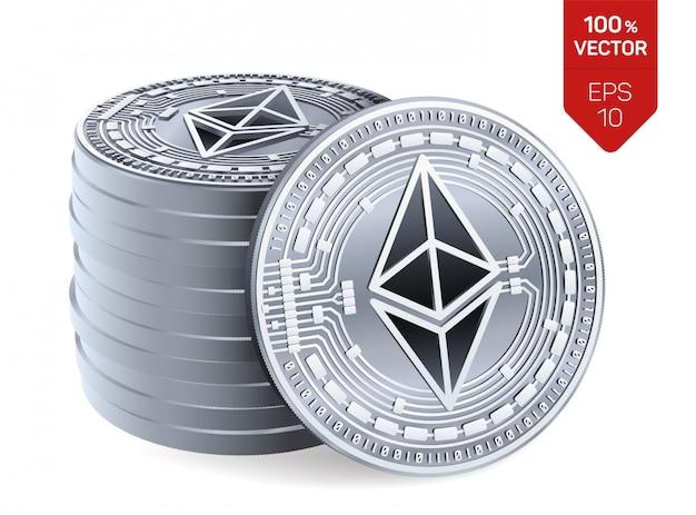 Pilha de moedas de prata com o símbolo ethereum isolado no fundo branco.