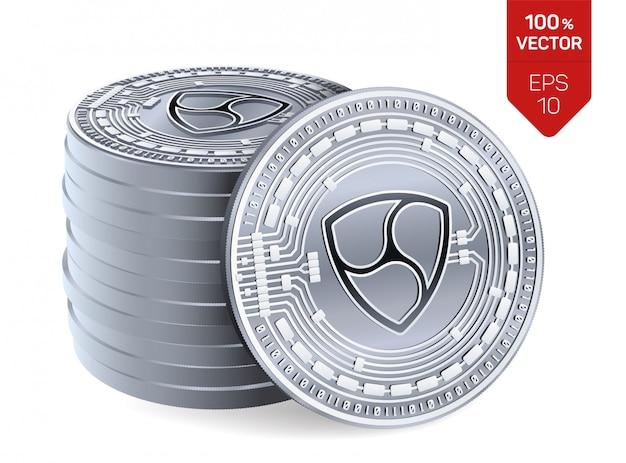 Pilha de moedas de prata com o símbolo nem isolado no fundo branco.
