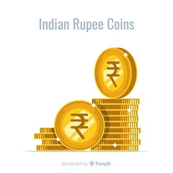 Pilha de moedas de rupia indiana