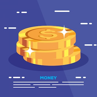 Pilha de moedas dinheiro dólar