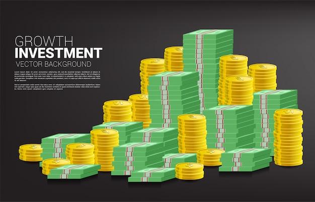 Pilha de moedas e bom gráfico de negócios