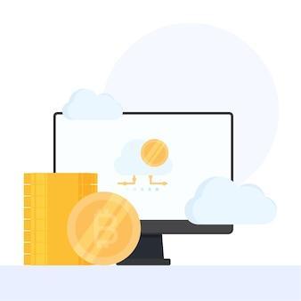 Pilha de moedas na frente do monitor e nuvem com bitcoin na tela