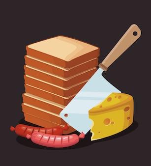 Pilha de pães com pedaço de queijo e salsichas
