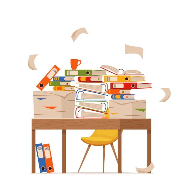 Pilha de papéis, documentos e pastas de arquivo no conceito de mesa de escritório. estresse de papéis desordenados desorganizados, prazo, ilustração de desenhos animados plana de burocracia difícil papelada.