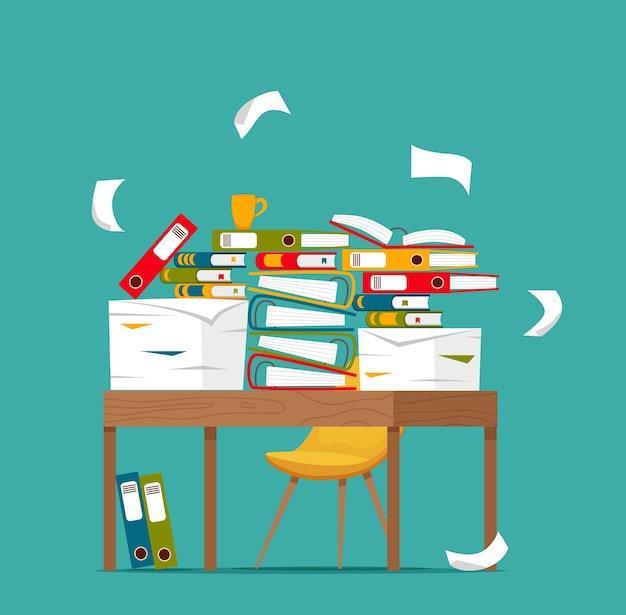 Pilha de papéis, documentos e pastas de arquivo no conceito de mesa de escritório. estresse de papéis desordenados desorganizados, prazo, ilustração de desenhos animados plana de burocracia papelada difícil.