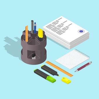 Pilha de papéis. o carimbo no documento. bloco de notas em branco. caneta e lápis. marcador. isométrico plano. conceito de trabalho. ilustração vetorial.