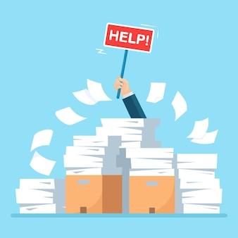 Pilha de papel, pilha de documentos com papelão, caixa de papelão com sinal de ajuda.