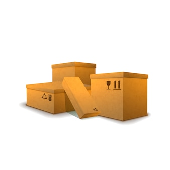 Pilha de parcelas de papelão com sinais de carga em branco