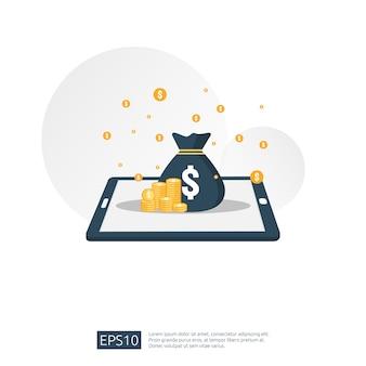 Pilha de pilha de dólar e saco de dinheiro no smartphone