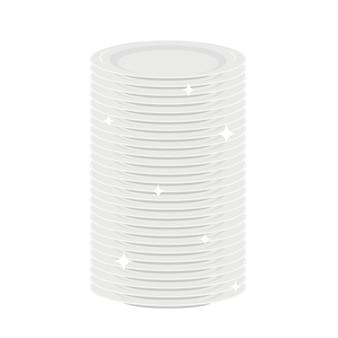 Pilha de pratos brancos limpos louça lavada talheres de cozinha