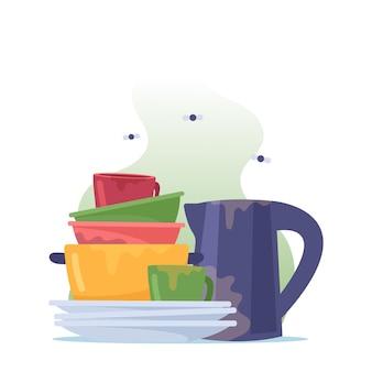 Pilha de pratos sujos, pilha de pratos, chaleira, frigideira e xícaras com moscas ao redor