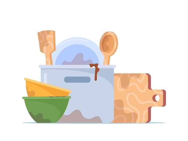 Pilha de pratos sujos, pilha de tigelas, prato, frigideira, tábua, torneira e colher para lavar, utensílios anti-higiênicos, louças ou utensílios de cozinha isolados no fundo branco