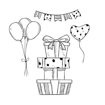 Pilha de presentes de aniversário e balão com mão desenhada ou estilo de desenho