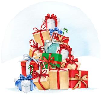 Pilha de presentes em aquarela de natal em forma de árvore