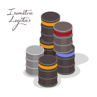 Pilha de recipientes ou tambores cilíndricos pretos e cinza, barris com materiais a granel ou líquidos para armazenamento e transporte.