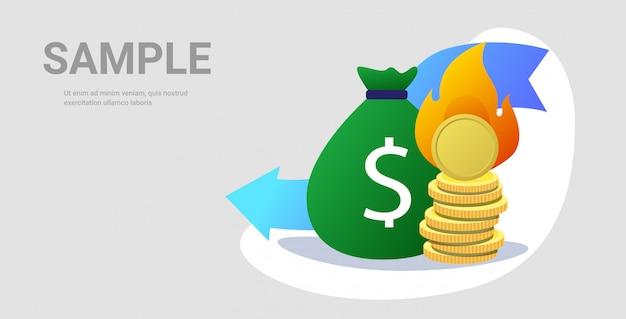 Pilha de saco e moedas de dinheiro flamejante com fogo caindo seta econômica crise financeira falência investimento falha conceito de risco horizontal