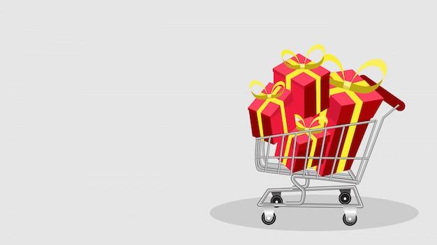 Pilha de sacolas de compras em um conjunto de caixa de presente de carrinho