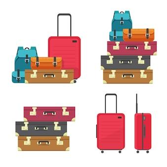 Pilha de sacos de bagagem e caixa de plástico de mala para voo ou pilha de bagagem de viagem empilhados isolados