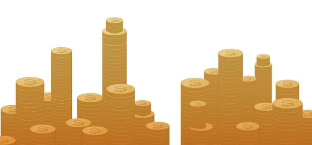 Pilha de torres de moedas em fundo branco, ilustração vetorial