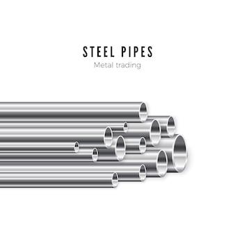 Pilha de tubos de metal