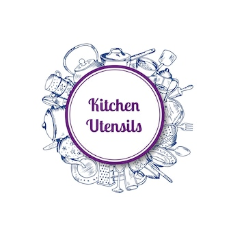 Pilha de utensílios de cozinha de mão desenhada sob o círculo com sombra e lugar para texto