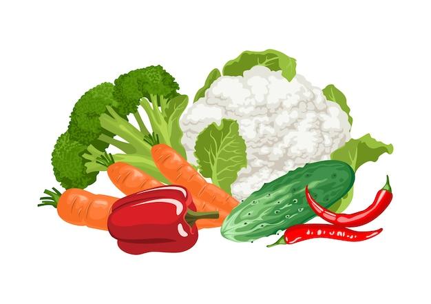 Pilha de vegetais isolada no branco