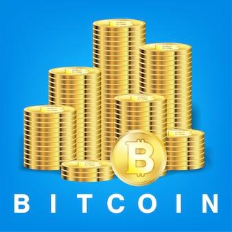 Pilha de vetor de cryptocurrency de moeda de bitcoin dourado