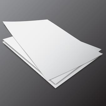 Pilha de vetores de papel em branco em diferentes tamanhos e ângulo