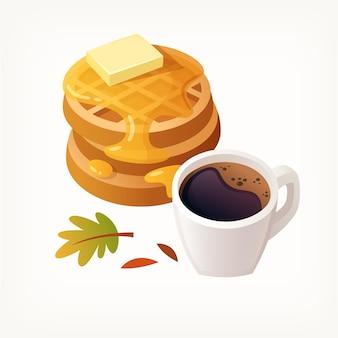 Pilha de waffles belgas cobertos de calda com um pedaço de manteiga por cima e uma xícara de café