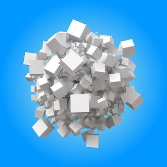 Pilha esférica de cubos aleatórios
