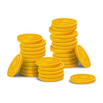 Pilha grande de moedas de ouro. grande pilha de ativos de jogo realista de dinheiro brilhante colorido. ilustração isolado no fundo branco