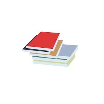 Pilha plana de desenho vetorial de livros ou textooks isolados em um fundo vazio. obras impressas literárias ou científicas - leitura, aprendizagem, conceito de educação, design de anúncio de banner de site da web