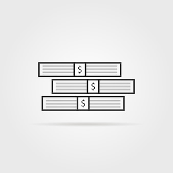 Pilha preta de dinheiro com sombra. conceito de bolsa, estoque, grande tesouro, fortuna, abundância, pilha, benefício. estilo plano tendência logotipo moderno design gráfico ilustração vetorial no fundo branco