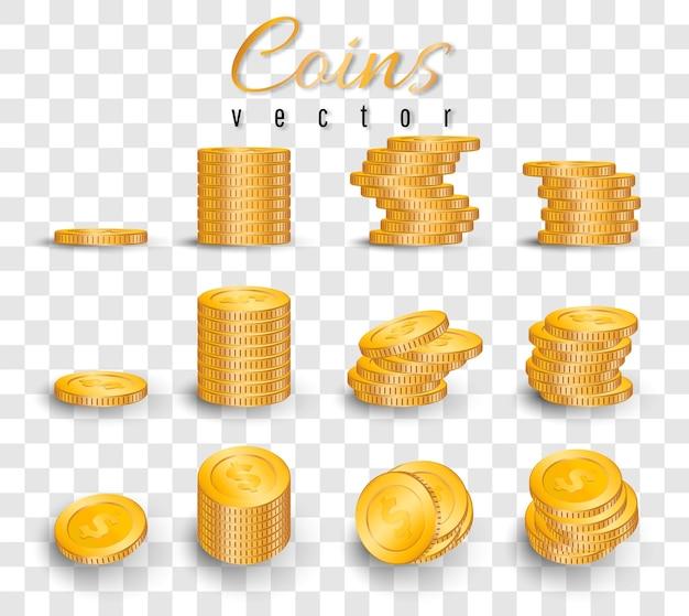 Pilha realista de moedas de ouro isoladas em fundo transparente