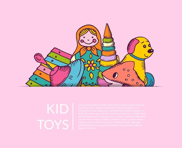 Pilha redonda de elementos de brinquedos de criança meio escondida com lugar para texto