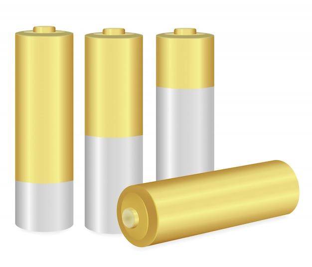 Pilhas aa metálicas e douradas sobre fundo branco