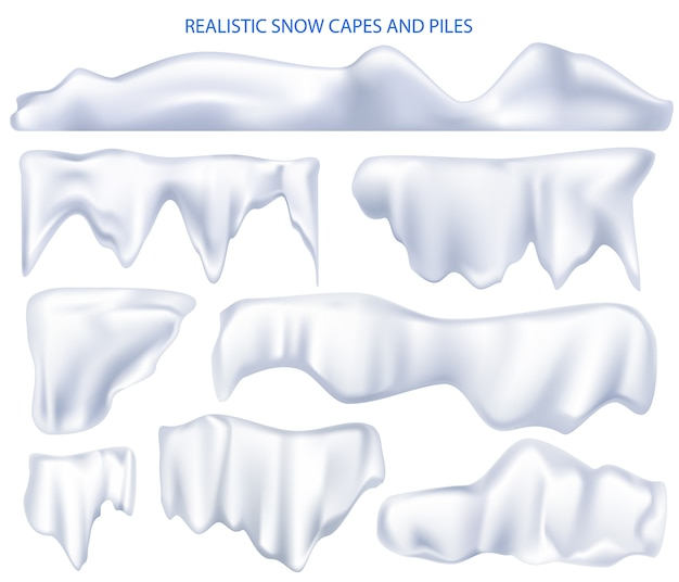 Pilhas de capas de neve. conjunto realista de capas brancas de neve e gorros de neve