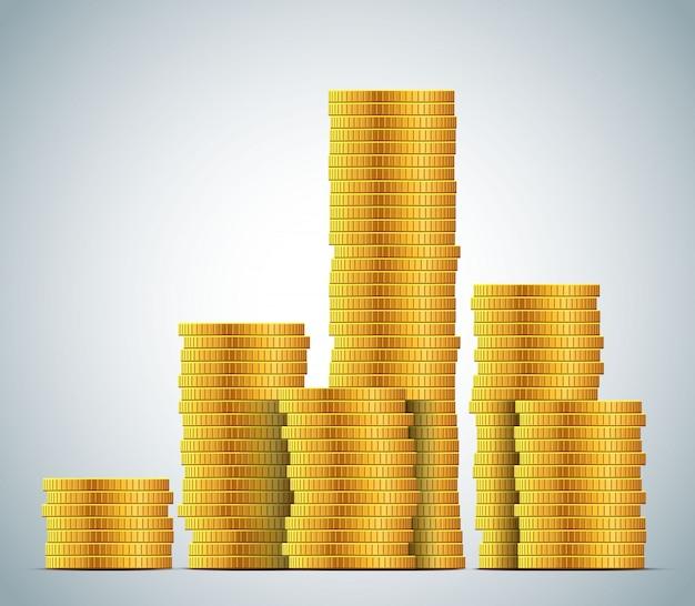 Pilhas de ilustração de moedas de ouro