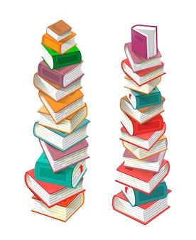 Pilhas de livros isoladas em fundo branco