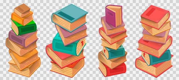Pilhas de livros na ilustração de fundo transparente