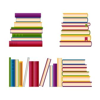 Pilhas de livros por uma pilha biblioteca de livros em estilo cartoon. ilustração em vetor isolada