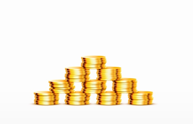 Pilhas de moedas crescentes, moedas de ouro no vetor de fundo branco