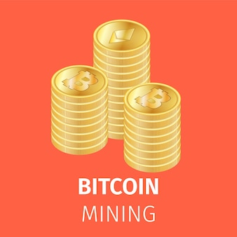 Pilhas de moedas de ouro bitcoin